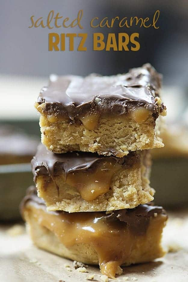 A stack of caramel Ritz bar squares.