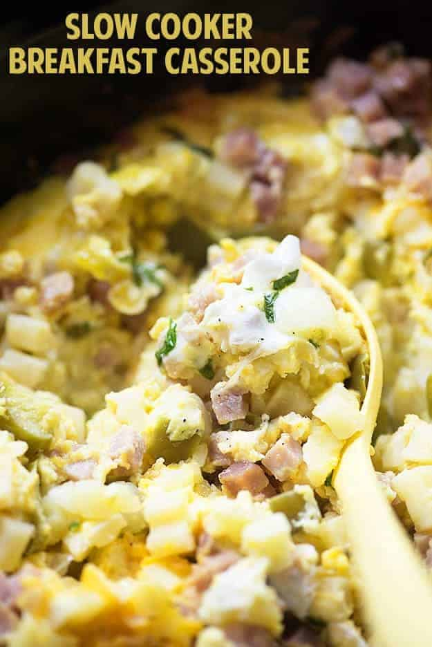 This slow cooker breakfast casserole makes a great holiday breakfast or brunch and can really feed a crowd! I love the mixture of cheesy potatoes, ham, and eggs!
