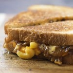 This grilled cheese sandwich is loaded with bbq pulled pork and macaroni and cheese!