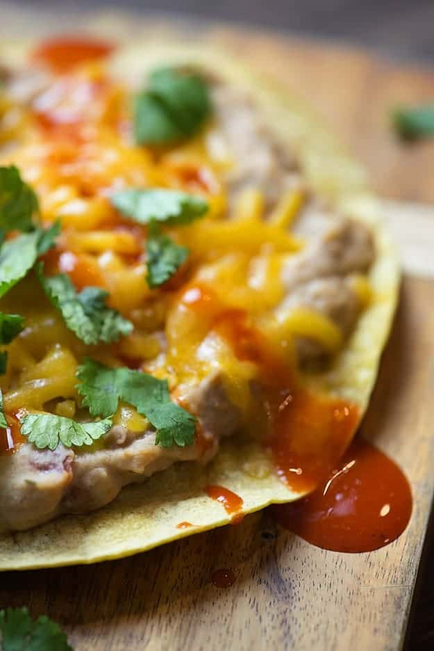 These bean dip tostadas are ready in about 15 minutes and are so good! Perfect for game day!