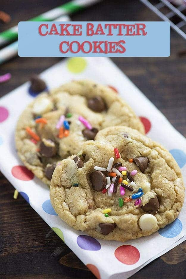 cake batter cookies on colorful paper