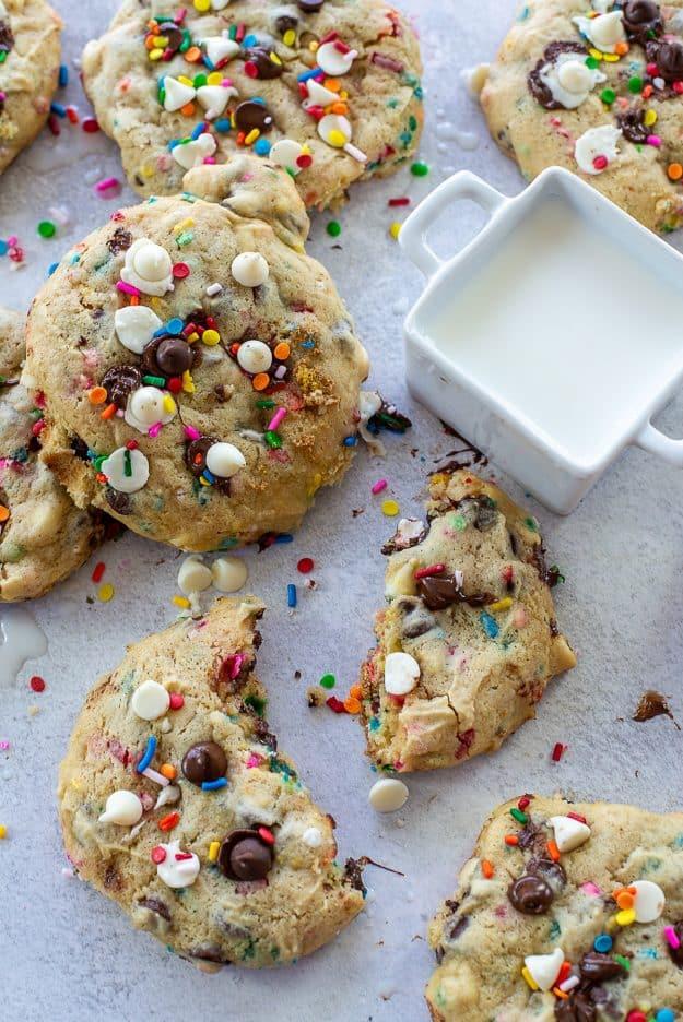 cake batter cookies with sprinkles.