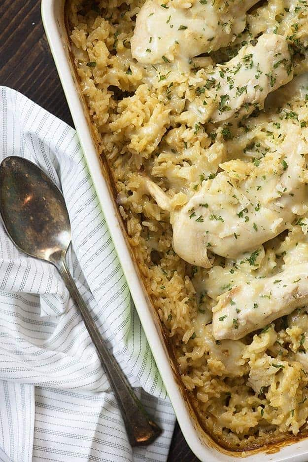 This creamy chicken and rice casserole is a new family favorite. It's total comfort food and is great for chilly nights.