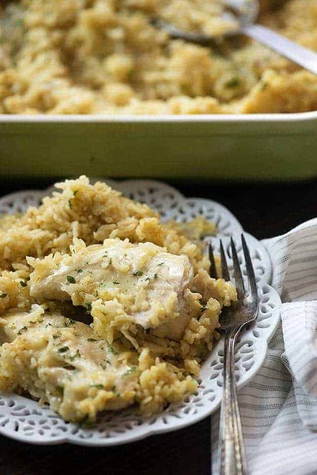 This creamy chicken rice casserole is a new family favorite. It's total comfort food and is great for chilly nights.
