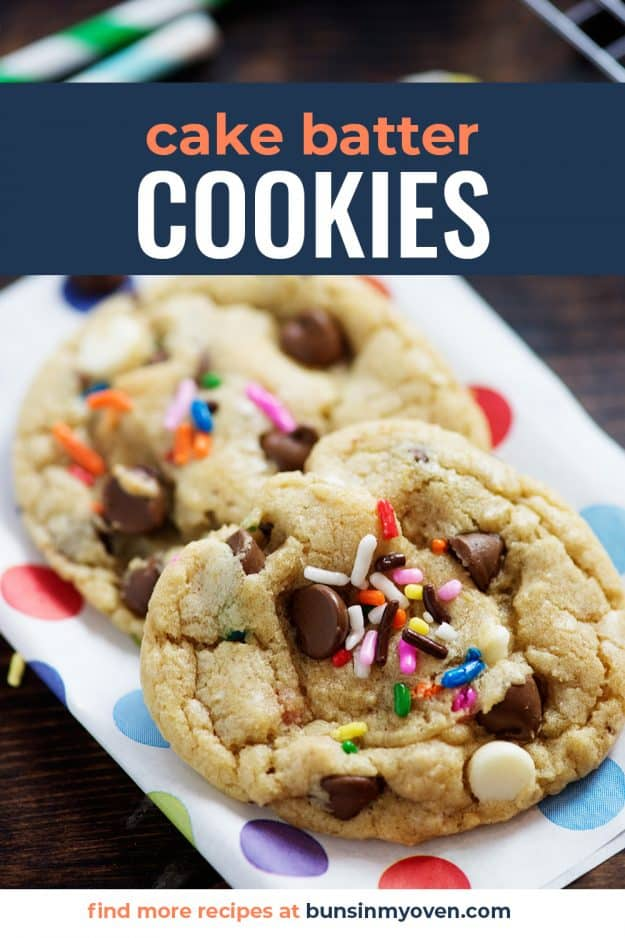 cake batter cookies on colorful polka dot paper.