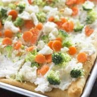 This ranch veggie pizza has a thick layer of cream cheese flavored with ranch! It's the perfect appetizer or snack!