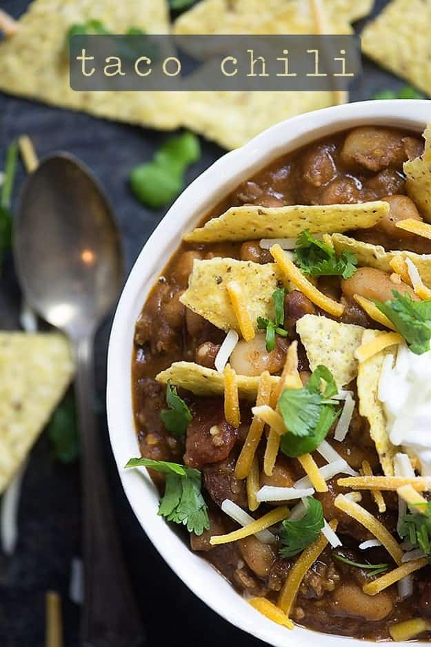 taco chili recipe in white bowl