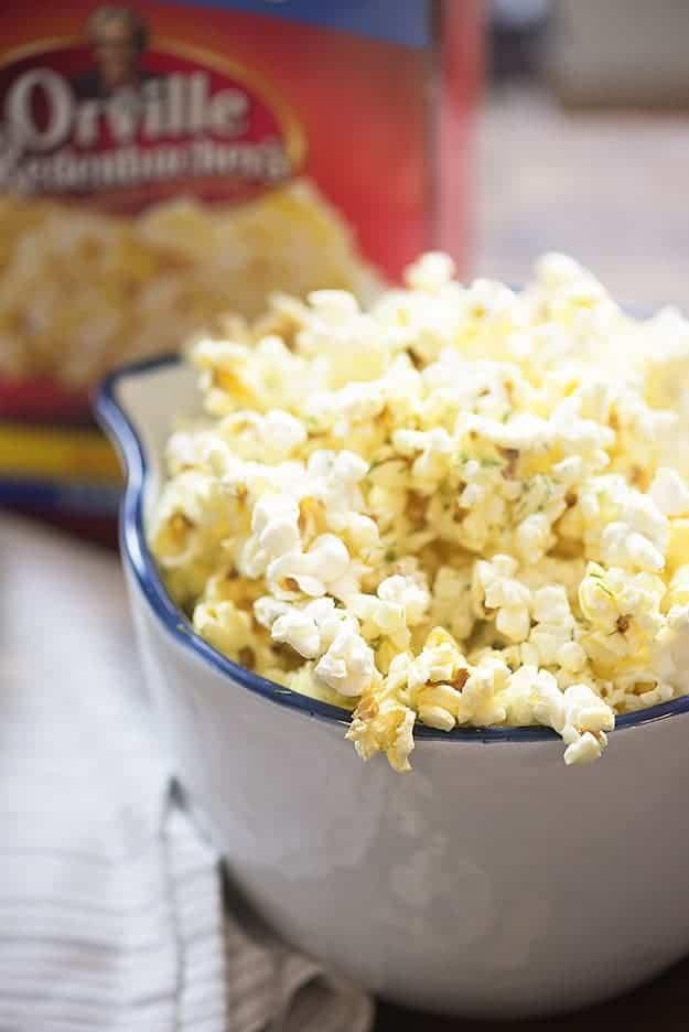 A bowl of parmesan dill popcorn.