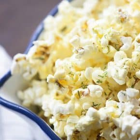This Parmesan Dill Popcorn is such an easy snack, but people love the bold flavors!