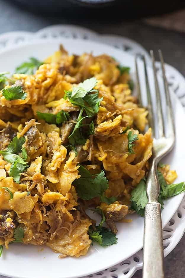 Carnitas Chilaquiles! This recipe is ready so quickly and makes the perfect breakfast or brinner!