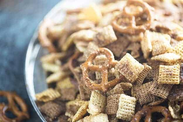 This sweet Chex mix recipe is loaded with cinnamon and sugar! We love this Chex mix recipe!