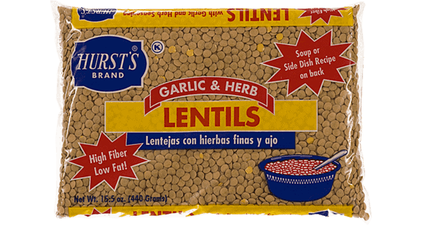 close up of a package of lentil beans.