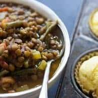 This lentil soup recipe is loaded with fresh veggies and makes a really hearty and healthy dinner!