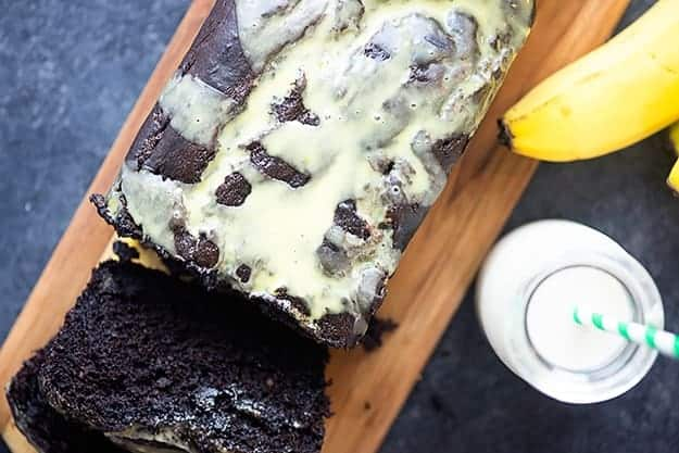 This fudgy chocolate banana bread is topped with a banana glaze!