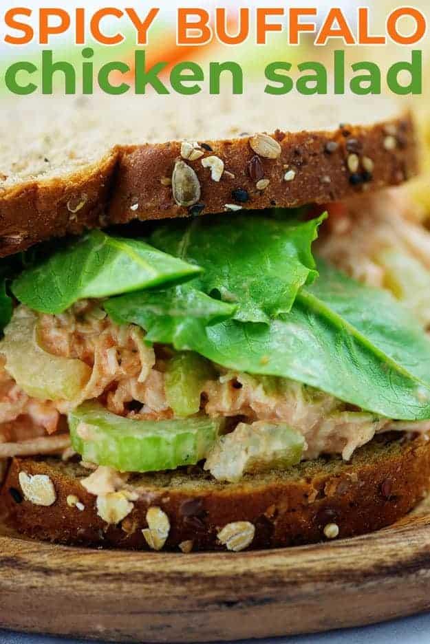 spicy buffalo chicken salad sandwich on wheat bread