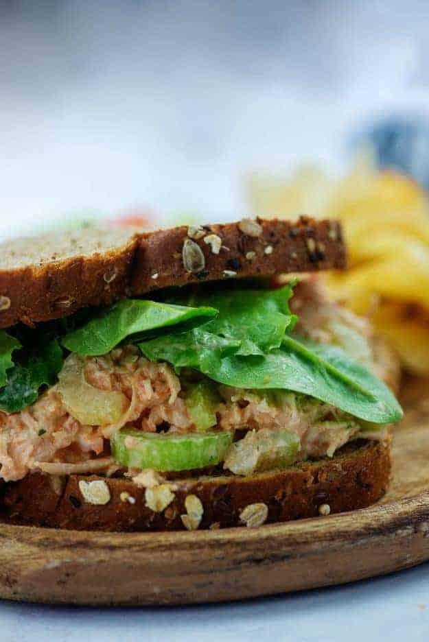 buffalo chicken salad recipe on wheat bread