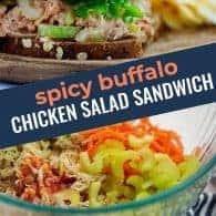 buffalo chicken salad sandwich photo collage