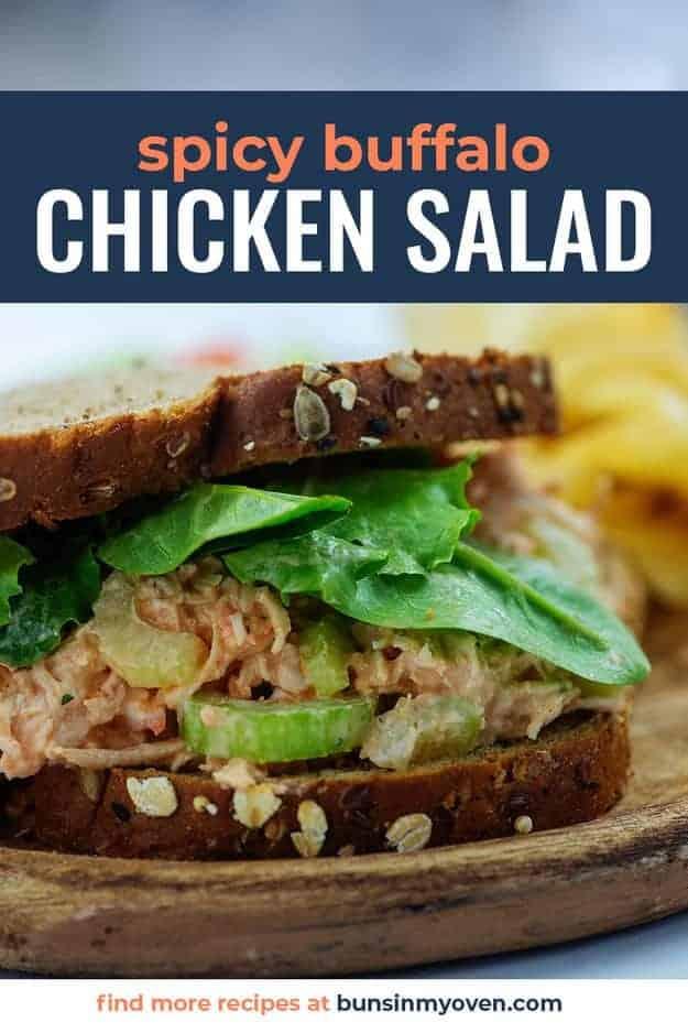 buffalo chicken salad sandwich on wheat bread