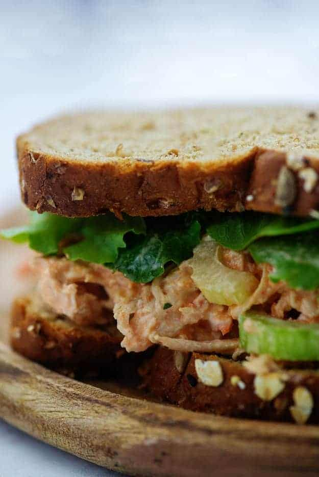 chicken salad on wheat bread with celery and lettuce