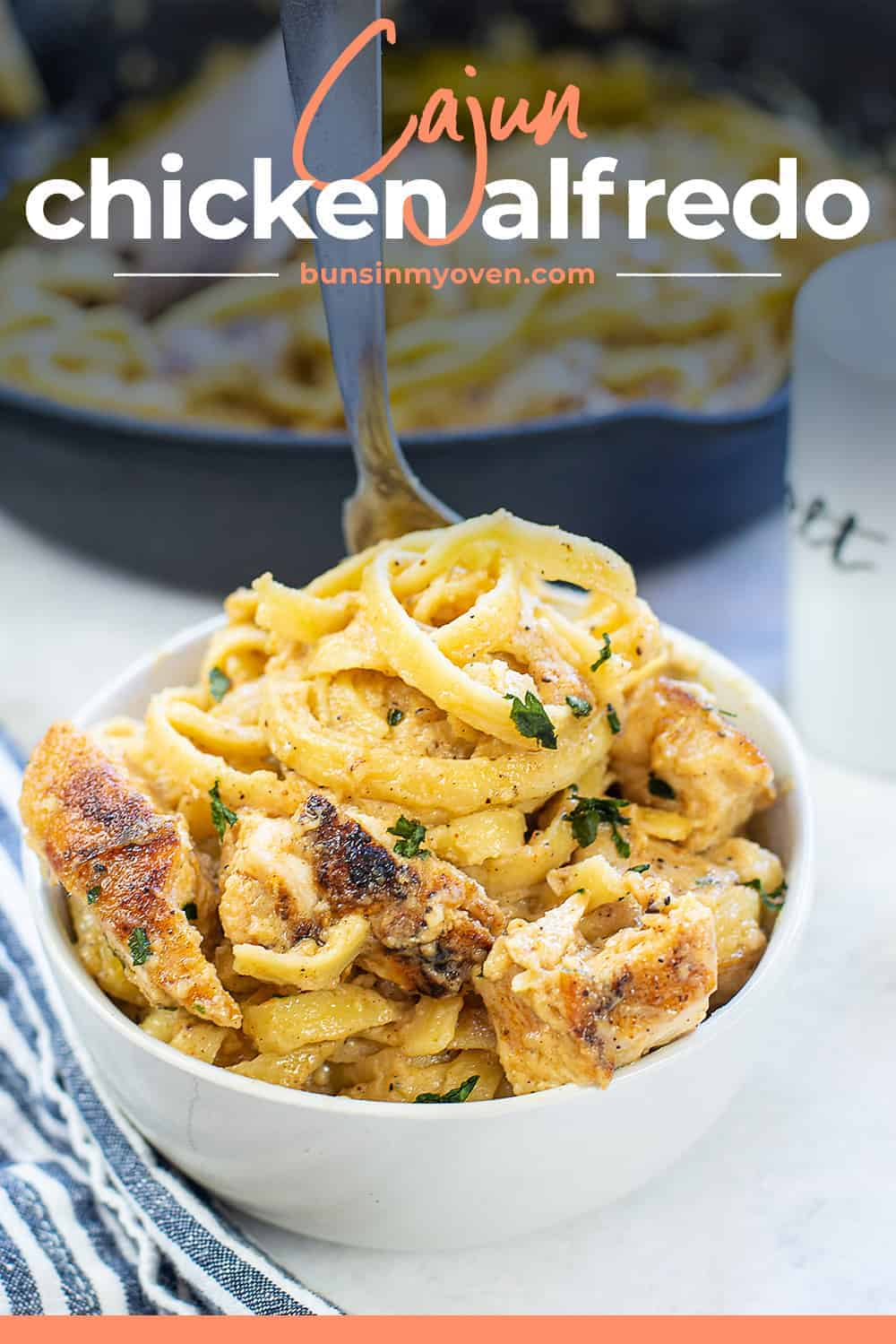 Chicken Alfredo in bowl with text for Pinterest.