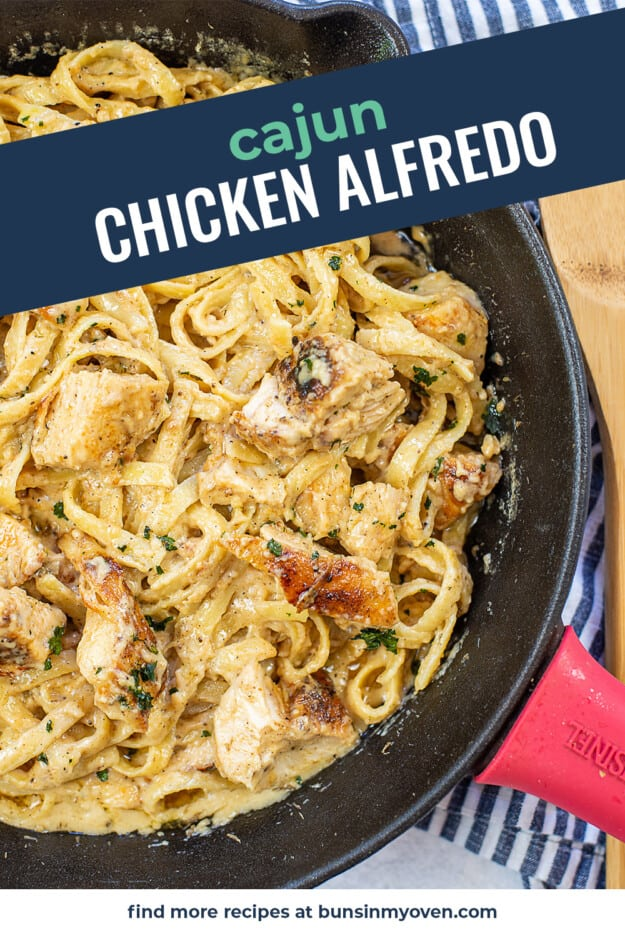 skillet full of pasta with text for Pinterest.