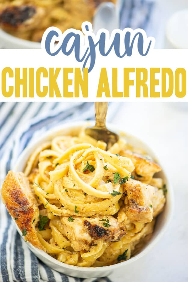 chicken alfredo in white bowl with text for Pinterest.