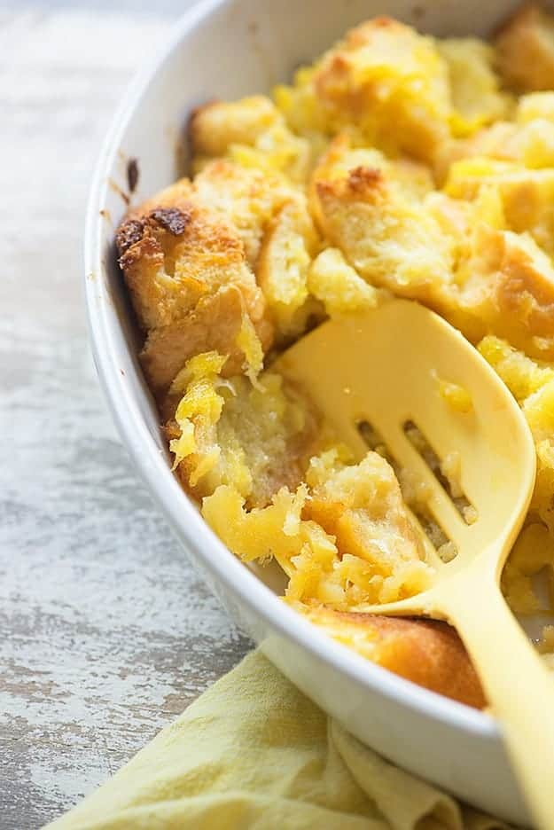 This pineapple casserole is both sweet and salty. It makes for a great side dish!