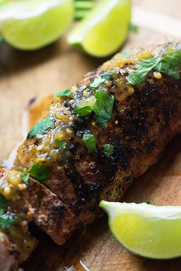 Pork tenderloin on the grill! This is served with a grilled tomatillo salsa over the top and it's SO GOOD!