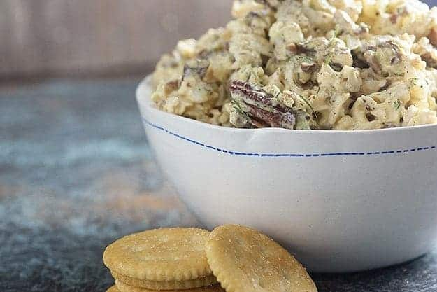 This low carb chicken salad is loaded with crunchy pickles, sweet onions, pecans, and juicy chicken!