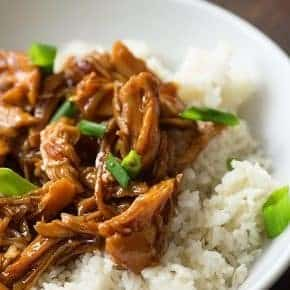 This slow cooker Chinese bourbon chicken is seriously good stuff. We love it served over rice!