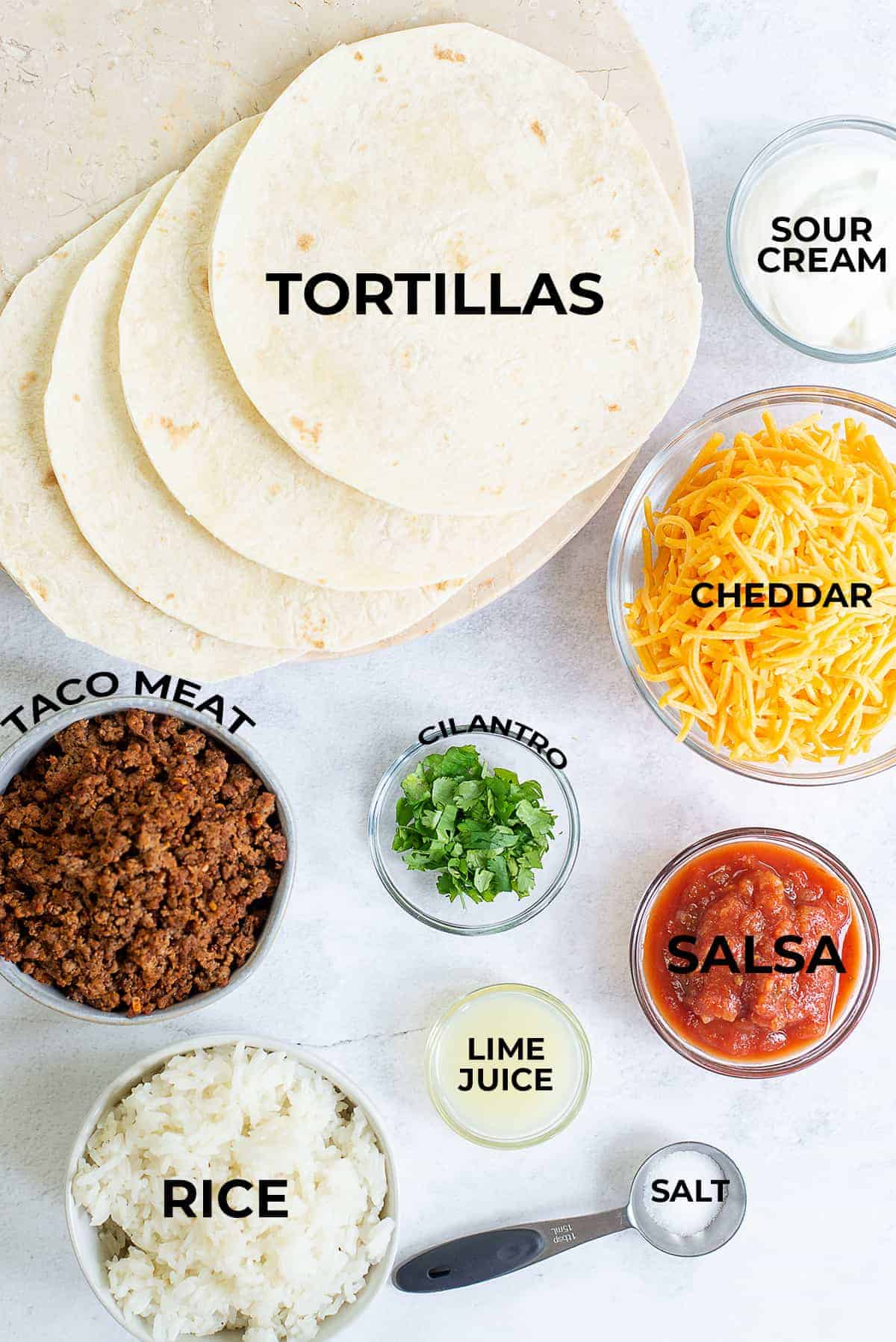 overhead view of ingredients for burrito pie.