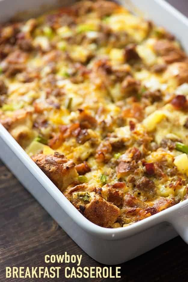 This easy breakfast casserole recipe is packed with sausage, bacon, cheese, and eggs! It's so simple to throw together before bed and bake in the morning.