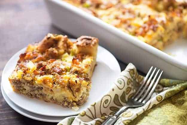breakfast casserole with bacon on white plate
