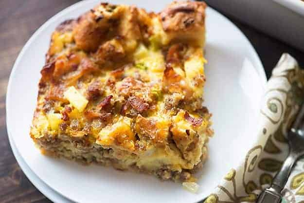 the best breakfast casserole on a white plate