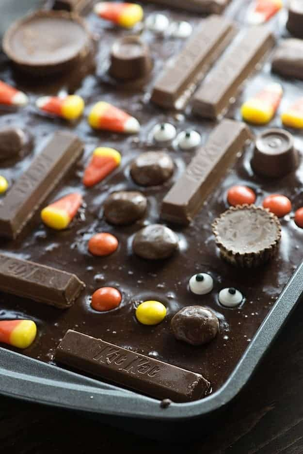 Several candies in a brownie batter.
