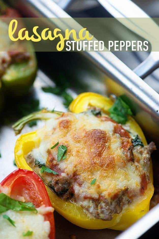 These low carb stuffed peppers are a great keto recipe! Like a low carb lasagna and they're super easy, too!