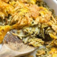 Green bean casserole with cheese! This green bean casserole recipe is so easy and there are NO cans of soup!