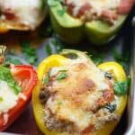 These low carb stuffed peppers are a great keto recipe! Like a keto lasagna and they're super easy, too!