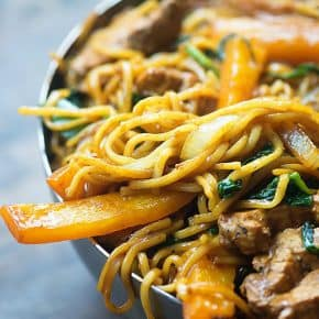 This pork lo mein recipe is full of pork, bell peppers, onions, and spinach. It's ready in less than 30 minutes and even tastier than take out!