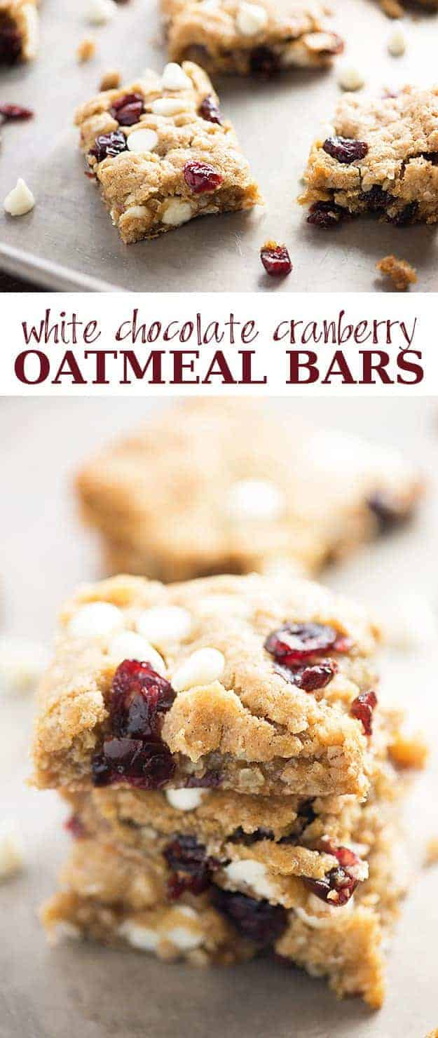A close up of cranberry oatmeal bars.