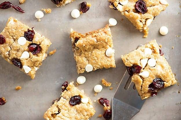 These oatmeal bars are packed with white chocolate and dried cranberries. They're soft, chewy, and completely addicting.