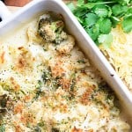 This broccoli and cauliflower gratin is covered in the creamiest Havarti cheese sauce! It's easy enough for a weeknight side, but fancy enough for the holidays! #sidedish #recipes #cauliflower #food