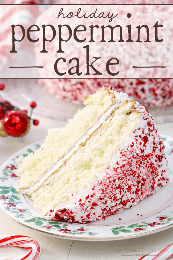 A white cake with a peppermint icing on a small dessert plate.