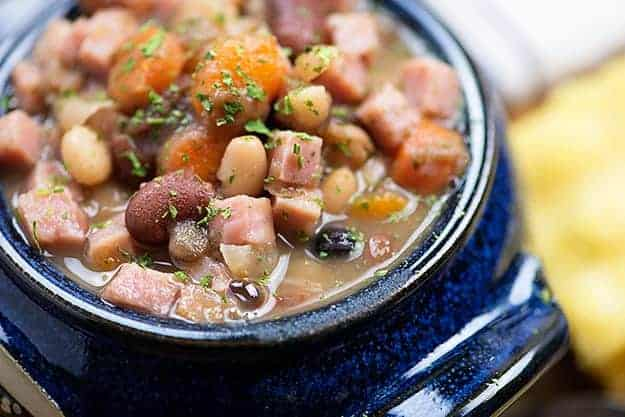 ham and beans in blue bowl