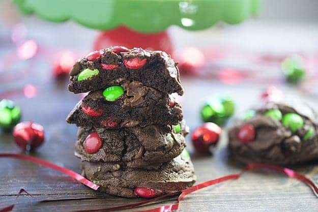 These double chocolate chip cookies are all dressed up for Christmas! Wait until you see how soft and chewy these are!