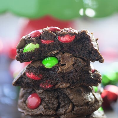 Stacked up chocolate cookies with m&m's
