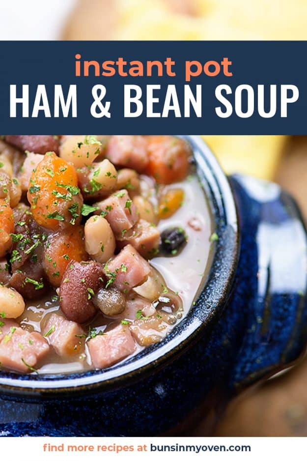 ham and bean soup in blue bowl.