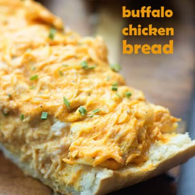 Spread this easy buffalo chicken dip recipe on a loaf of French bread to feed a hungry crowd. We like this one dipped in ranch dressing.