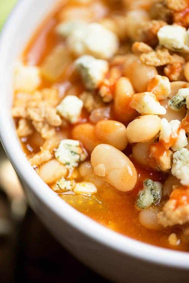 Drizzle this buffalo chicken chili recipe with a little extra buffalo sauce before serving.