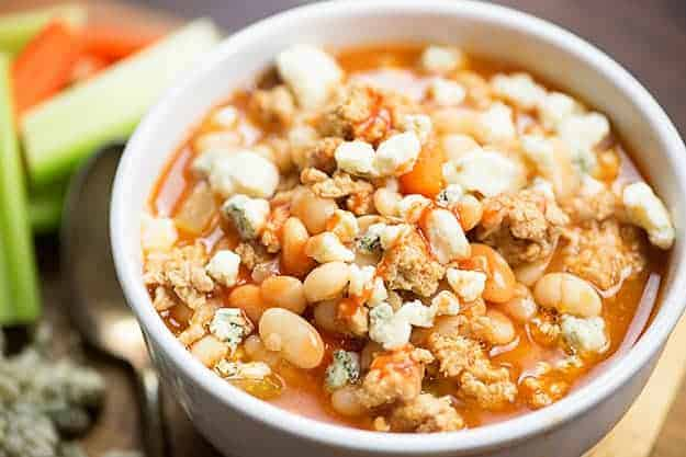 We love this spicy buffalo chicken chili! It's loaded with great northern beans and chicken.